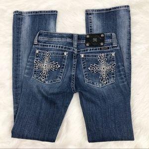 Miss Me Cross Bling Pocket Bootcut Jeans